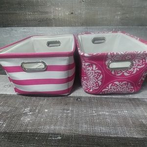 Mainstays pink canvas cubby baskets